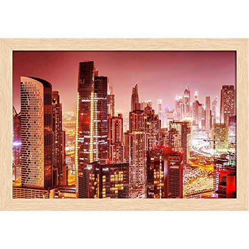 ArtzFolio Dubai at Night, UAE Canvas Painting Natural Brown Frame 11.4 x 8inch