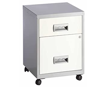 Pierre Henry 2 Drawer Maxi Filing Cabinets A4 (Silver/White On Wheels)
