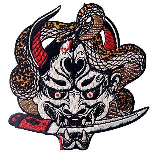 Hannya Oni Mask Patch Embroidered Badge Iron On Sew On Emblem]()