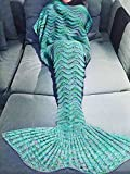 KAKOM 71-Inch-by-35.5-Inch Mermaid Tail Blanket for Adult, Mint Green