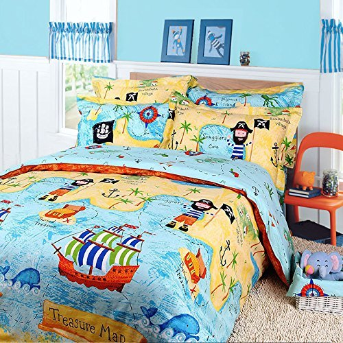 Zacard Cotton Kids Bedding Set Pirates of the Caribbean Bedding Boys Treasure Map Bedding Twin Full Size (Pirate, Full)