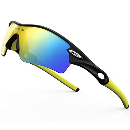 65f773c54d RIVBOS 805 POLARIZED Sports Sunglasses with 5 Set Interchangeable Lenses  for Cycling (Black   Yellow