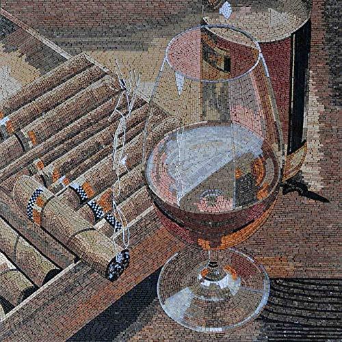Cigar and Drink Pair Mosaic Marble Handmade Artwork | Mosaic Designs | Mosaic Artwork | Mosaic Wall Art by Mozaico | Handmade Mosaics | 31
