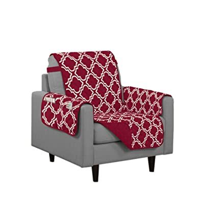 Linen Store Austin Quilted Reversible Microfiber Furniture Protector With  Strap And Pockets, Burgundy, Chair