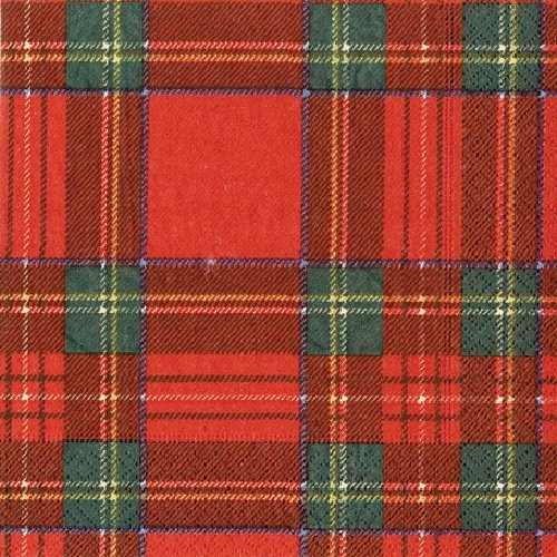 Paper Napkins Tartan Plaid Christmas Decor Holiday Party Red Dessert Napkins Pk 40