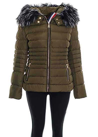 Women's Shiny Black Faux Fur Collar Puffer Quilted Jacket Ladies Warm Winter Coa