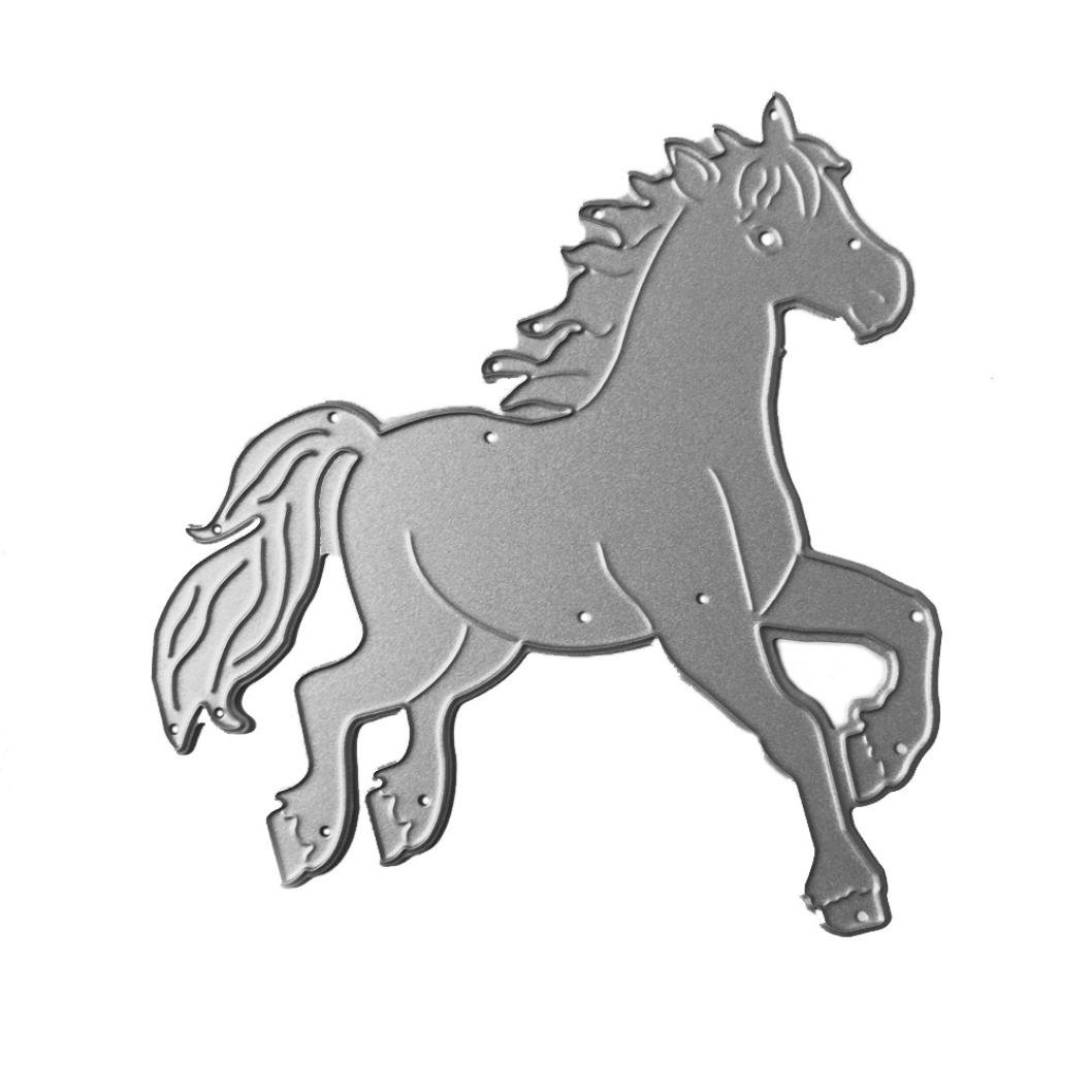 Horse Anboo Chinese Zodiac Metal DIY Embossing Cutting Dies Stencil Scrapbooking Album Paper Card Art Craft