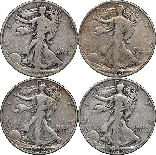 1916-1947 Walking Liberty Silver Half Dollars, 4 Coins, 2 Face Avg. Condition