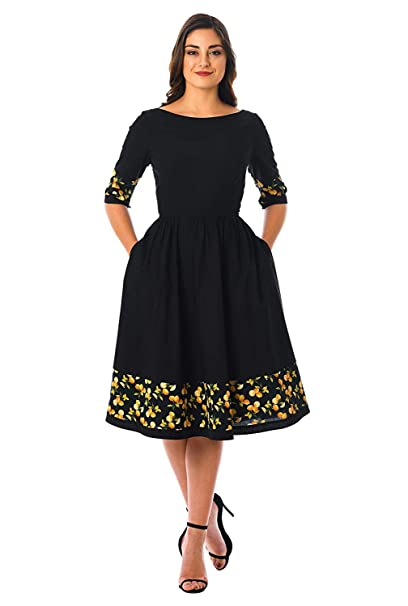 d697029c1f07f Karm Enterprise Women s Rayon Printed Fancy Frock Solid Fit and Flare Skater  Dress (Black