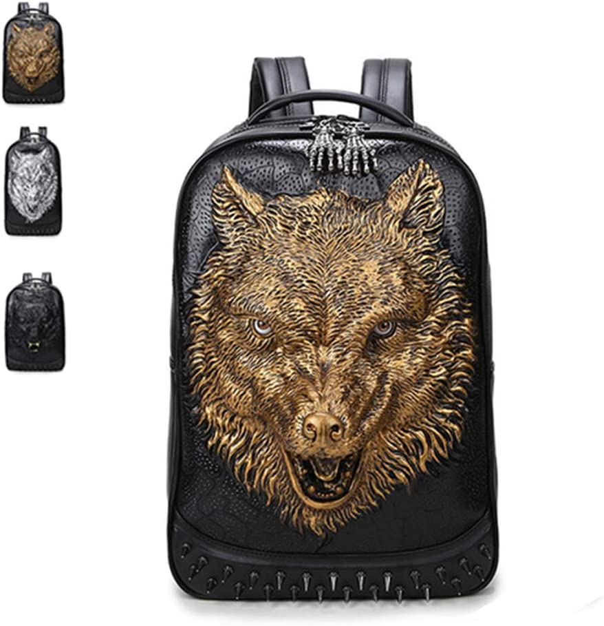 WENDYRAY Mochila 3D Wolf Head Mochila para portátil de Cuero de 15,6 Pulgadas con Remaches Bolso Escolar Informal de Gran Capacidad para Mujeres/niñas, Hombres/niños,Oro,M