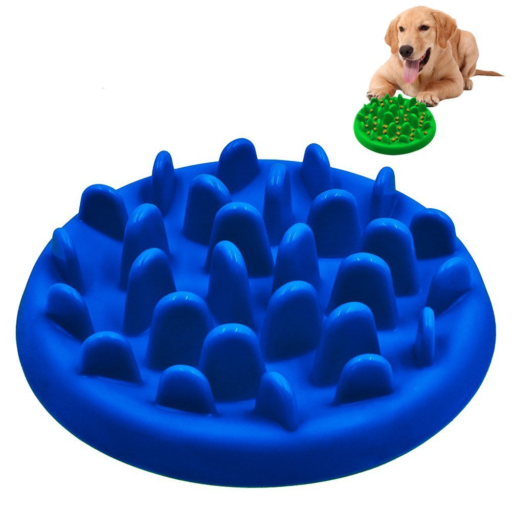 PETBABA Slow Feed Dog Bowl, Interactive Maze Nonslip Feeder Dish, Against Bloat in Eating Food, Good Cat Pet to Keep Healthy - L in Blue