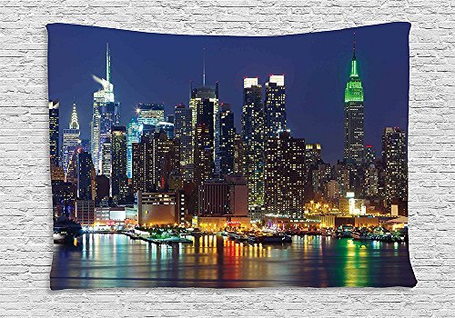 [New York Tapestry Decor NYC Midtown Skyline in Evening Skyscrapers Amazing Metropolis City States Photo Wall Hanging for Bedroom Living Room Dorm Royal] (Halloween Decorations New York)