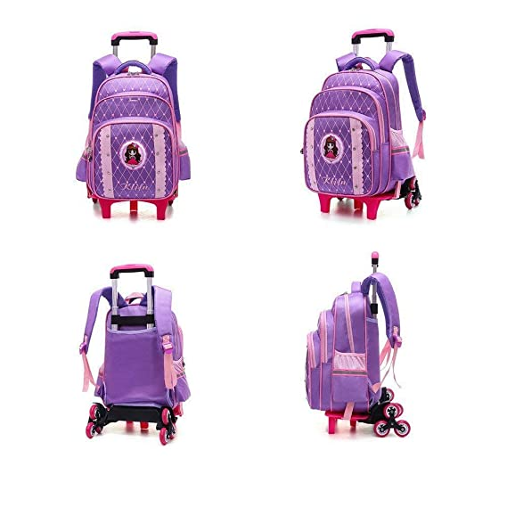 Amazon.com : DYYTRm Rolling Backpack Wheeled Suitcases - Children Unisex School Traveling Nylon Waterproof Detachable Trolley Bag 6 Wheels : Sports & ...
