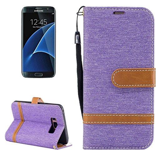 Caja de cuero de textura de dril de algodón con el titular y ranuras para tarjetas y billetera y cordón para Samsung Galaxy S8 + / G9550 by diebelleu ( Color : Purple ) Purple