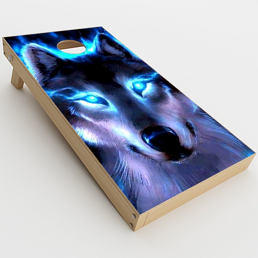 Skin Decal Vinyl Wrap for Cornhole Game Board Bag Toss (2xpcs.) Skins Stickers Cover / Wolf Glowing Eyes Fire