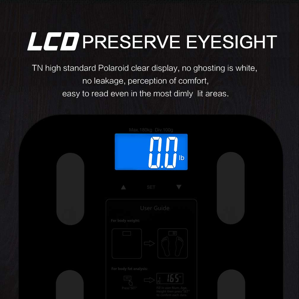 Fat 10 Users BMI 400 lbs Fat Loss Monitor Digital Bathroom Scale Body Composition Analyzer with Backlit LCD for Body Weight Black Bone Mass and Calorie Water Triomph Body Fat Scale Muscle