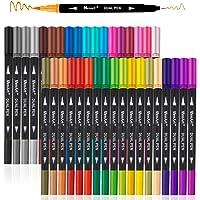 Dual Markers Brush Pen, Colored Pen Fine Point Art Marker & Brush Highlighter Pen for Adult Coloring Hand Lettering Writing Planner Art Supplier(36 Colors Pen Set)