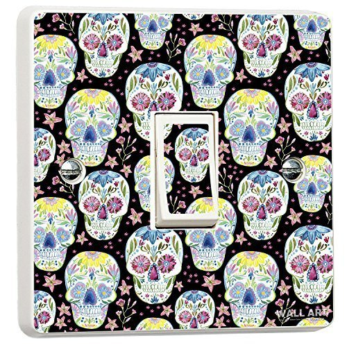 Day of The Dead Mexican Skulls Style Single Light Switch Cover Vinyl Sticker Wall Art Desire