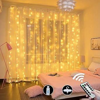 Oferta amazon: Cortina de luces,Cadena de Luces 3m x 3m 300LED luces de Navidad al Aire Libre Blanco Cálido Luz, IP55 Impermeable, Poder de conexión USB para Decoración Fiesta, Bodas 10 ganchos (blanco cálido)