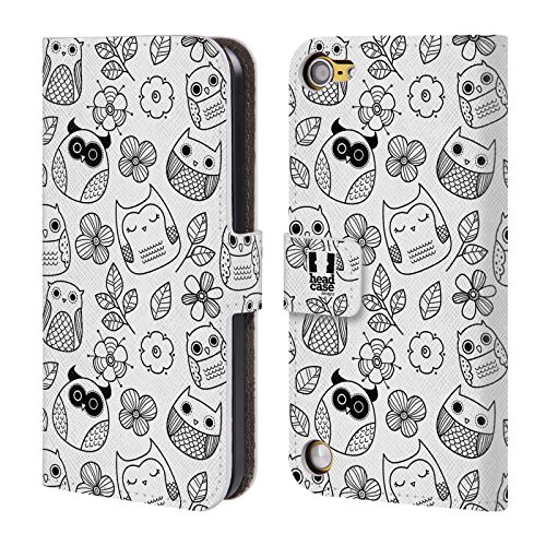 Head Case Designs Fiori E Foglie Doodle Gufi Cover a portafoglio in pelle per iPod Touch 5th Gen / 6th Gen