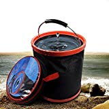 Collapsible Bucket Foldable Car Wash Bucket Portable Pail 12L 2000D Oxford Water Container For Car Washing Gardening Fishing Camping Picnic Hiking Outdoor Travel Beach