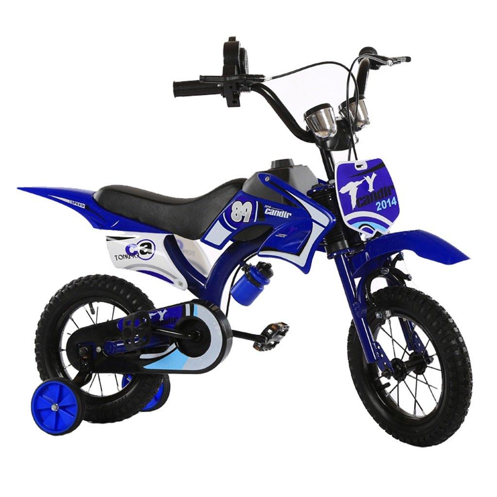 KANGR-子ども用自転車 アウトドアシミュレーション用の子供用自転車オートバイのデザインに適した2-5-8ボーイズとガールズトレーニングホイール付きキッドバイク-12 / 14/16/18インチ ( 色 : 青 , サイズ さいず : 16 inch ) B07CDDCPBB青 16 inch
