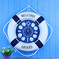 CLG-FLY The Mediterranean Decorative Pendant Buoy Mediterranean Decorative Wall Clock,35Cm,A good gift for your children