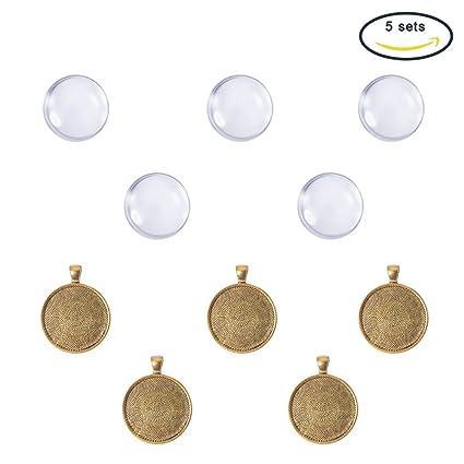 Pandahall,5 Series 30 mm claro cabujones de cristal y antiguos cabujones ajustes pendientes de