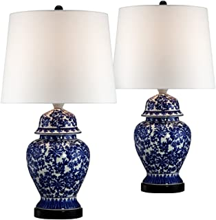 Blue And White Porcelain Temple Jar Table Lamp Set Of 2