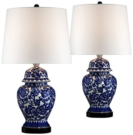 Beau Blue And White Porcelain Temple Jar Table Lamp Set Of 2
