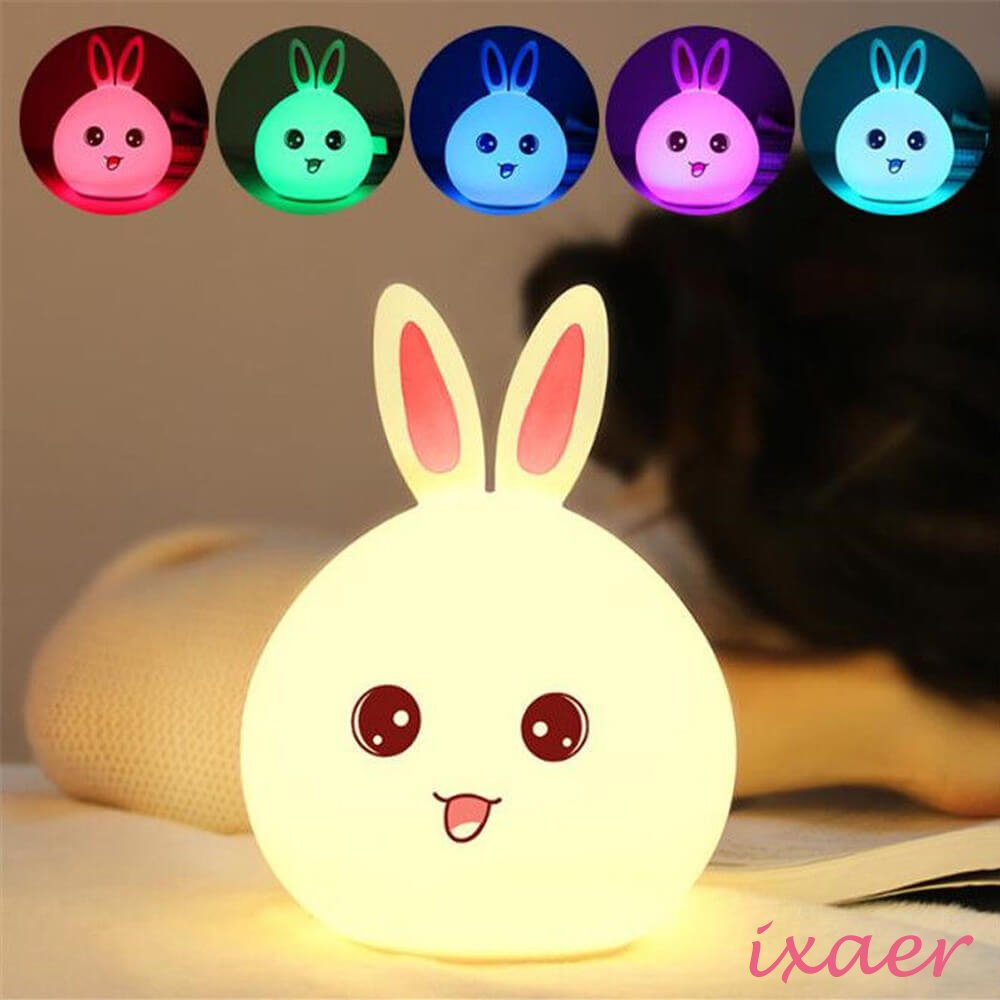 ixaer New Style Rabbit LED Night Light Multicolor Silicone Touch Sensor For Children Bedside Lamp Control Bunny Nightlight, Creative Rabbit Pat Lamp Dream Bedroom Bedside Table Lamp. (Pink)
