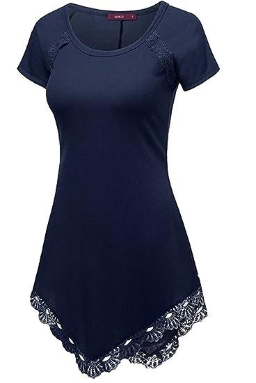 048a24be486 C.Zhaxidele Women Plus Size Fashion Lace Hem Tunic Tops Short Sleeve  T-Shirt at Amazon Women s Clothing store