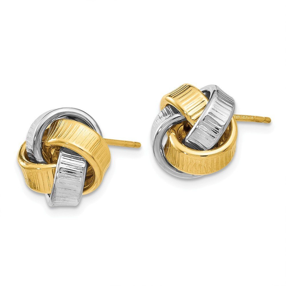 Leslies Real 14kt Two-tone Polished Textured Post Earrings