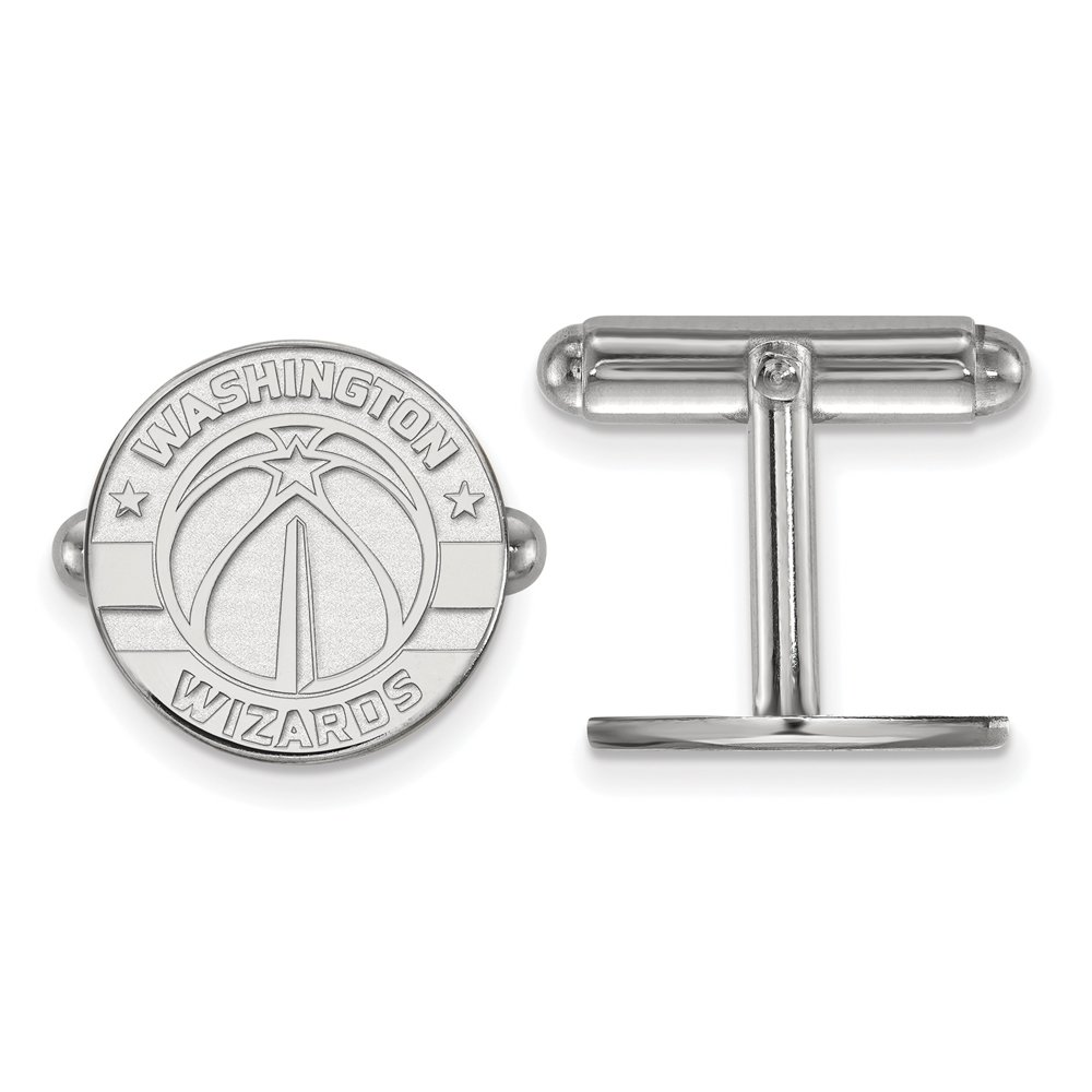 NBA Washington Wizards Cuff Links in Rhodium Plated Sterling Silver
