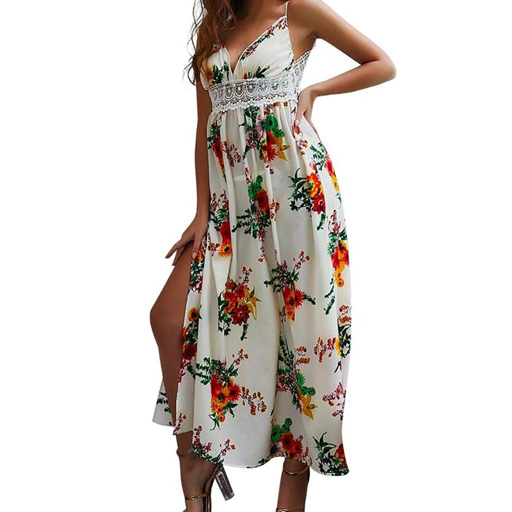 Salaks Sexy Spaghetti Strap Floral Printed V-Neck Casual Lace Beach Long Dress White