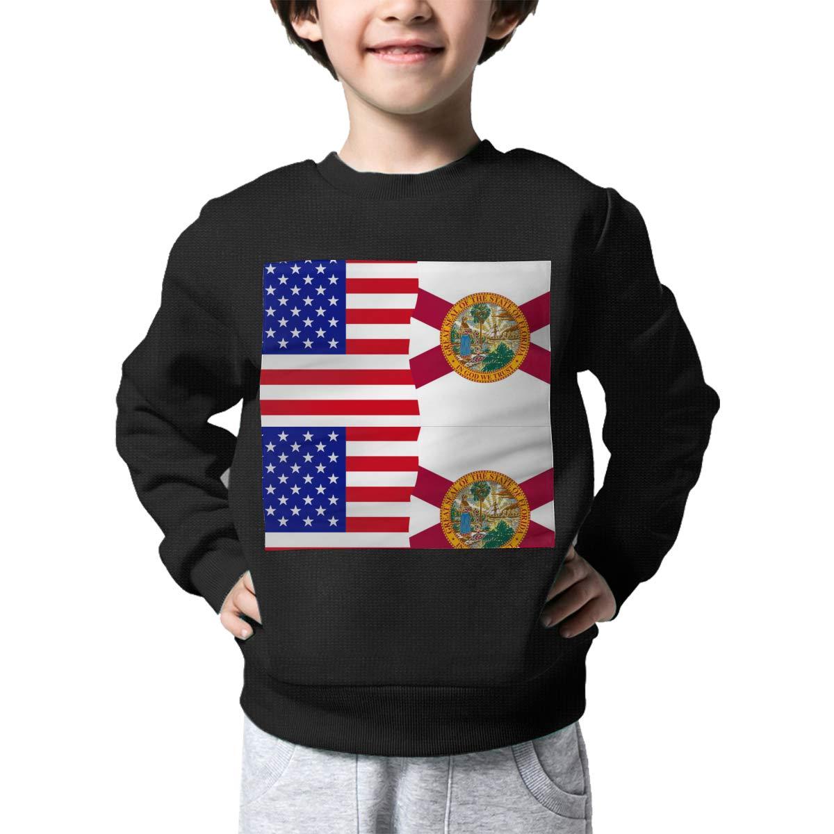 NJKM5MJ Boys Girls Half USA Half Florida Flag Lovely Sweaters Soft Warm Childrens Sweater