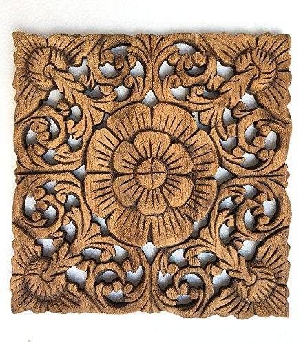 Wood Wall Art- Wood Plaque Oriental Carved Flower in Brown Finish, Thailand, By WASUWAN (Teak Panel)