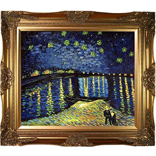 overstockArt Starry Night Over The Rhone Vincent Van Gogh Canvas Art, Victorian Gold Frame/Finish