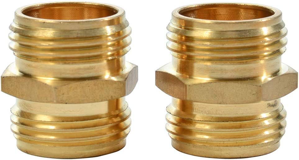 REGNHLIF 2 Pack 3/4 Inch Brass Garden Hose Adapter Male to Male Quick Connector