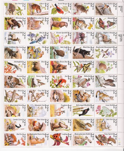 Cent Stamp Sheet (North American Wildlife Complete Sheet of 50 x 22 Cents Stamps 2286-2335 by USPS)