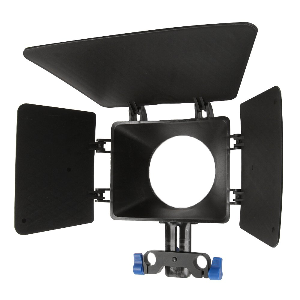 Fotga ABS Plastic Basis Matte Box with 15mm Rail Rod Clamp Sunshade for Beginners Rail Rod Rig System Camera Cage Canon 5D 6D 7D Mark II III IV Fuijifilm X-A3 X-T10 X-pro 2 Panasonic GH3 GH4 GH5 etc by FOTGA
