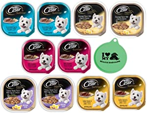 Cesar Wet Dog Food Breakfast Bundle - 5 Flavor Variety Pack, 3.5 Oz Each - Pack of 10, Plus Can Cover (11 Items Total)