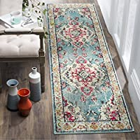 Safavieh Monaco Collection MNC243J Vintage Bohemian Light Blue and Fuchsia Pink Distressed Runner (22 x 20)