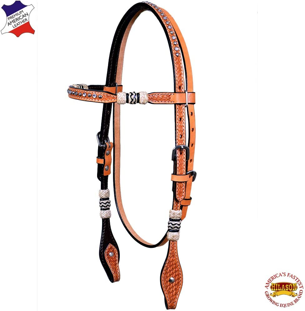 HILASON Western Horse Headstall Tack Bridle American Leather Tan Floral Design