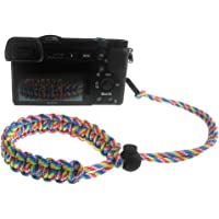 FoRapid Braided 550 Paracord Adjustable Camera Wrist Strap/Bracelet Quick Release Connector Fits All Camera Lugs for Mirrorless Compact System DSLR Cameras, Binoculars - Rainbow