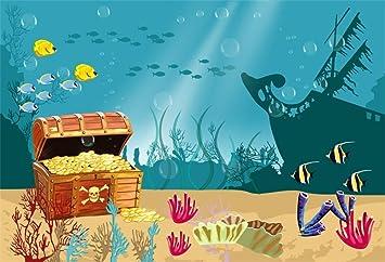 10x8ft Cartoon Seabed World Backdrop Photo Props Photography Background LYFU254