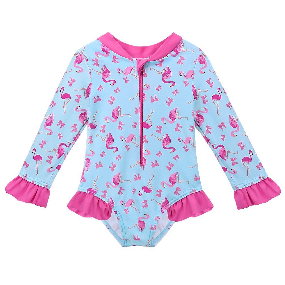 47d397e38f30 HUANQIUE Baby Toddler Girl Swimsuit Rashguard Swimwear Long Sleeve One-Piece