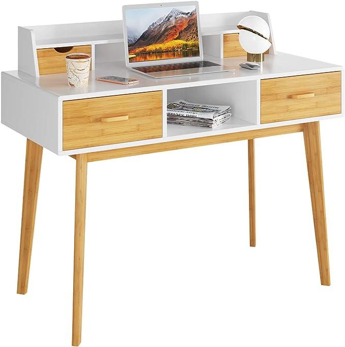 HOMECHO Mesa de Ordenador Moderna Escritorio de PC Con 4 Cajones y 1 Estante Escritorio de Computadora de Bambú y Madera Blanco 108x50x95 cm