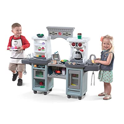 Step2 488799 Cakes & Coffee Kitchen & Café | Large Play Kitchen & Pretend Play Restaurant | Play Food & Toy Accessories Included, Gray: Toys & Games