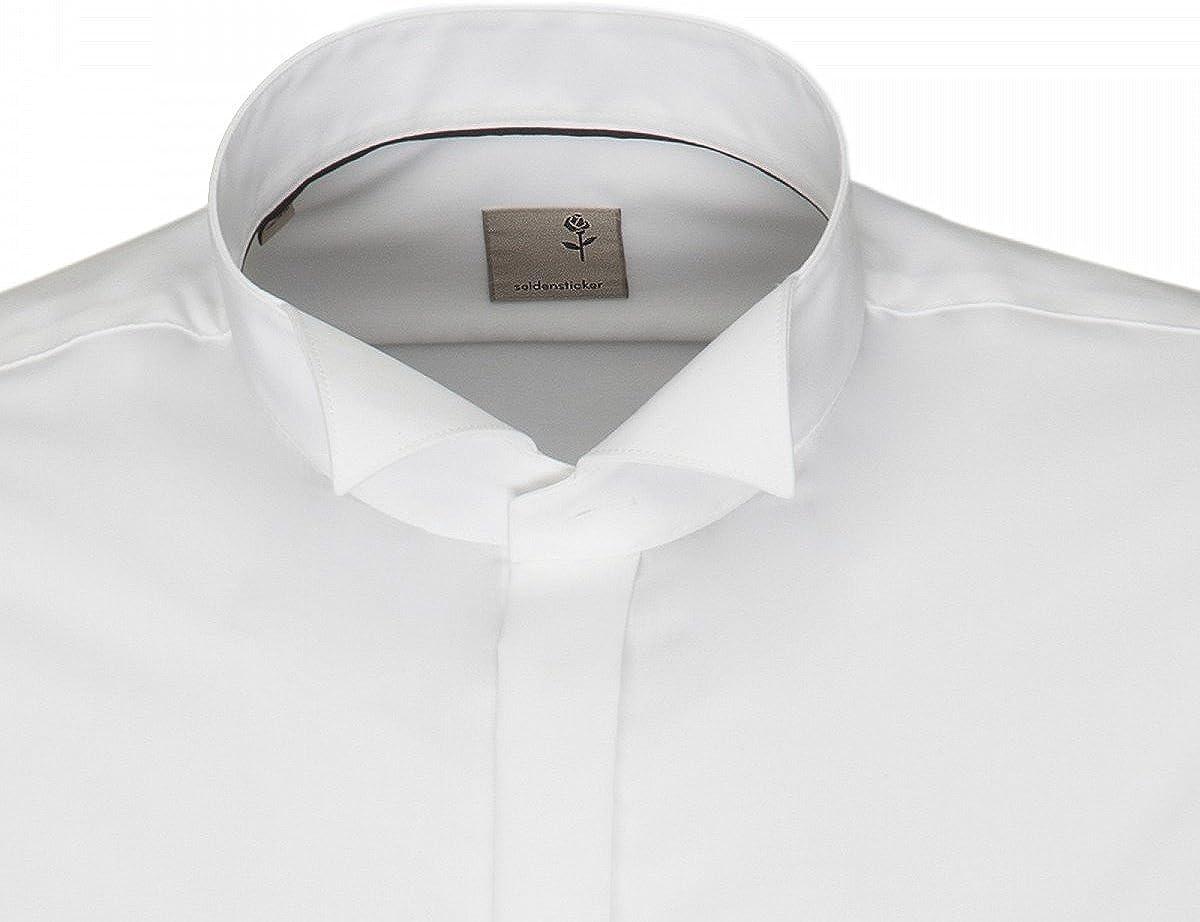 Seidensticker Camisa de esmoquin, color blanco, cuello alzado, slim, 100% algodón, incluye pajarita Blanco 39